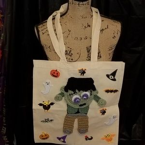 Handbags - Hand Crochet Halloween/FrankensteinTrick/Treat Bag